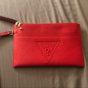 """Red """"guess"""" wristlet"""